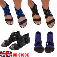 UK Women's Zipper Sandals Flats Gladiators Ankle Strappy Beach Casual Shoes Size