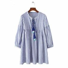 Women New Fashion Blue Color Striped Printed Tie Decorated V Neck Dress