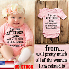 US Kids Girls Crawl Suit Long Sleeve Casual Bodysuit Baby Clothes Letter Outfits