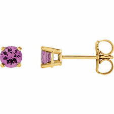 14K 14 ct Yellow, White, Rose Gold Pink Sapphire Stud Earrings Made to Order
