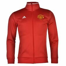 Adidas Manchester United Zip Track Jacket Mens Red Football Soccer Tracksuit Top