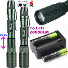 20000LM Zoomable XM-L T6 LED 18650 Flashlight Torch Lamp Light+18650+Charger