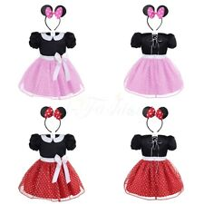 2Pcs Baby Girls Kids Minnie Mouse Halloween Costume Party Polka Dots Fancy Dress