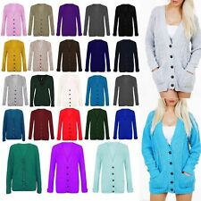 Womens Ladies Cable Knitted Boyfriend Cardigan Chunky Grandad Pocket Button Top