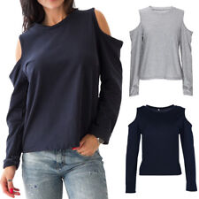 WOMENS LADIES LONG SLEEVE CUT OUT COLD SHOULDER JUMPER CASUAL TOP BLOUSE T SHIRT
