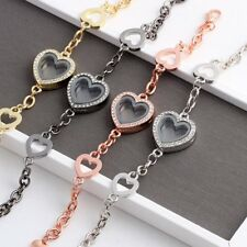 Lady Living Memory Floating Charm Crystal Heart Locket Bracelet Bangle Jewelry