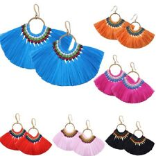 Boho Vintage Bunch Braided Tassel Fringe Dangle Hook Earrings Women Jewelry Gift