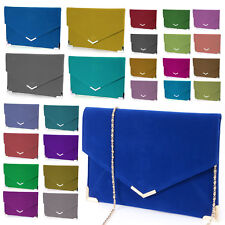LADIES CLUTCH EVENING BAG FAUX LEATHER WEDDING ENVELOPE PROM PARTY BAG HANDBAG