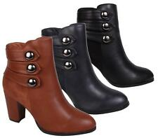 LADIES HIGH BLOCK HEEL ZIP COWBOY OFFICE WOMENS FAUX LEATHER WORK ANKLE BOOTS