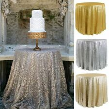 """47""""/72""""/120"""" Round Sequin Tablecloth Cover Wedding Party Restaurant Decoration"""