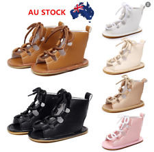 AU Toddler Baby Kid Boy Gilr Lace up Leather Soft Crib Shoes Sneakers 0-24 Month