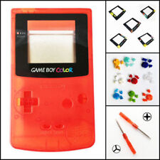 Nintendo Game Boy Color GBC Replacement Housing Shell Screen Clear Red BUTTONS!
