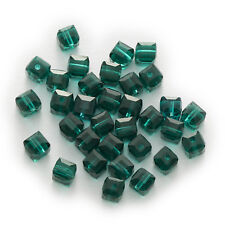 50 Piece Peacock Green Cut Faceted Cube Crystal Glass Beads Jewelry Making 4-8mm