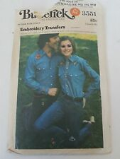 Butterick Embroidery Transfers Sewing Pattern #3551