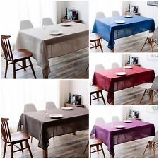 IMEA HOME Solid Faux Linen Water Repellent Fabric Tablecloth 47x67 inch