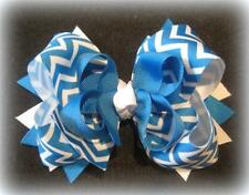 Blue Magic Chevron Boutique Hair Bow 3 layers Loops Spikes Funky Hairbows Girls