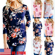 US Women Floral Front Cross Top 3/4 Sleeve Blouse Casual Shirt Beach T-Shirt Tee