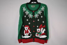 Ugly Christmas SweaterWomen's SYP5-3420CAMZ Polar Bear Cardigan SweaterEvergreen