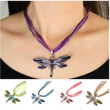 Fashion Women Dragonfly Charms Necklace Chain Rhinestone Inlay Gemtone Pendant