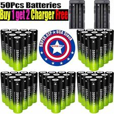 100X 18650 3.7V Batteries Rechargeable Li-ion Battery+Charger For Flashlight ,+