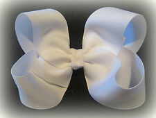 Loopy Boutique Hair Bow White Pure Girls Baby Big Hairbow Clssic Chunky 4 5 inch