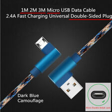 1/2/3M Blue Camouflage Braided Micro 2.4A Fast Charge USB Data Sync Cable Cord