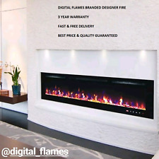 50 INCH LED FLAMES WHITE / BLACK GLASS WALL MOUNTED ELECTRIC FIRE FIREPLACE 2018
