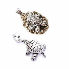 Turtle Tortoise Feng Shui 92.5 Sterling Silver Charm Necklace Pendant Jewelry