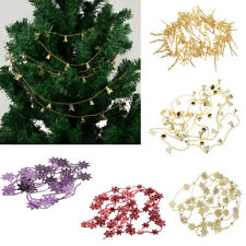 Christmas Snowflake Bell Branch Bead Chain Xmas Tree Hanging Party Decoration