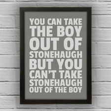 STONEHAUGH - BOY/GIRL FRAMED WORD TEXT ART PICTURE POSTER Northumberland