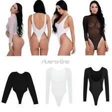 Womens Lady Sexy High Cut See Through Thong Leotard Bodysuit Jumpsuit Swimwear
