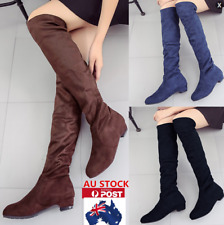 AU WINTER WOMENS FAKE SUEDE LOW HEEL CASUAL SHOES LADIES OVER KNEE HIGH BOOTS
