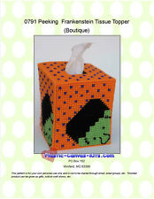 Peeking Frankenstein Tissue Topper-Halloween-Plastic Canvas Pattern or Kit