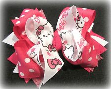 Hello Kitty Boutique Hair Bow Cat party Hairbow Pink Funky Stacked Bows Layered