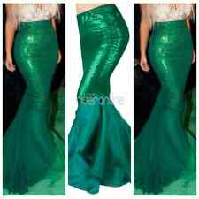 Sexy Mermaid Womens Halloween Costume Fancy Party Sequined Maxi Dress Tail Skirt