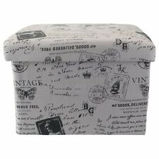 Storage Box Shabby Rustic Box Antique Lilac Storage Stool with Print (G