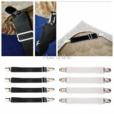 Black/White Set of 4 Bed Mattress Sheet Clips Grippers Straps Fasteners Holder