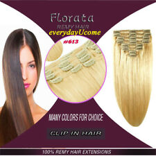 100% Natural Clip in Remy Human Hair Extensions Double Weft Full Head US Lady