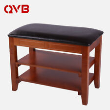 Solid Wood Storage Shoe Bench Entryway Shoe Rack Faux Leather Hallway Bench shoe