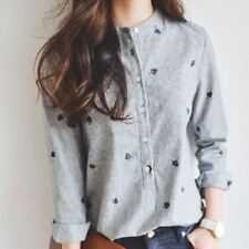 Summer Turn-down Collar Embroidery Long Sleeve Blouse For Women