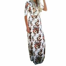 Fashion A-line Half Sleeve O-neck Floral Printed Ankle-length Dress For Women