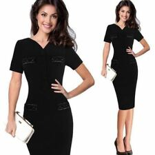 Womens Summer Slim Button Vintage Casual Office Pencil Bodycon Dress
