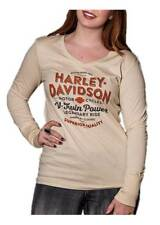 Harley-Davidson Women's Rumble Rhinestone V-Neck Long Sleeve Shirt, Tan