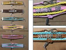 Southern Girl Bracelet Western Colors Rope Braid Cowboy Boot Charm Claw Clasp