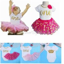 Baby Girl 1st ONE First Birthday Party Romper Top Skirt Dress Outfit Set Clothes