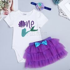 Girls 1st First Birthday Outfit Romper+Tutu Skirt Headband Set Mermaid Costumes
