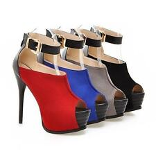 Lady Stiletto High Heels Open Toe Ankle Strap Nightclub Platform OL Pumps Shoes