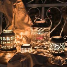 Tabletop Antique Hollow Metal Wrought Iron Lantern Votive Candle Holder Lamp