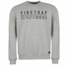 Firetrap Graphic Crew Sweater Mens Grey Sweatshirt Jumper Top