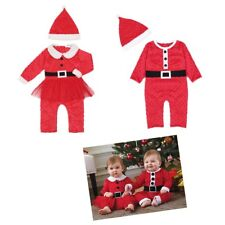 Newborn Baby Boy Girls Santa Claus Romper Jumpsuit Christmas Costume Outfits Hat